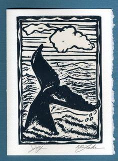 Linocut Whale tail by hawaiialoha on Etsy