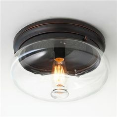 Clear Cloche Glass Ceiling Light-downstairs hallway light?