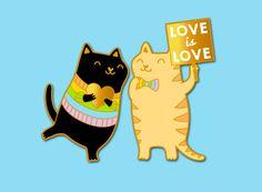 PRÉCOMMANDE: Chat arc en ciel émail broche chat par OhPlesiosaur