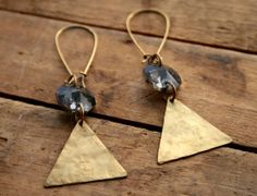 smokey gray crystals and hammered triangles // earrings Lunamoth Etsy