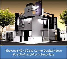 Front Elevation Design For Bhavanau0027s 40 X 50 SW Corner Duplex House In  Bangalore