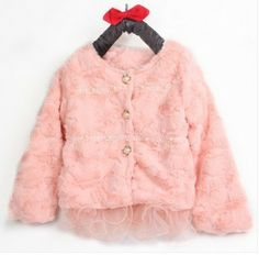 Fashion Girls' outwear Autumn children winter jacket faux  fur  lace cardigan baby girl pink coat 3-8 age free shipping  US $21.96