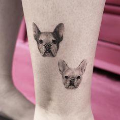 Micro pet portrait tattoos by sanghyuk ko dog milk bulldog t Tiger Tattoo Small, Small Dog Tattoos, Small Tattoos With Meaning, Tiger Tattoo Klein, Bulldogge Tattoo, Dog Portrait Tattoo, French Bulldog Tattoo, Dog Memorial Tattoos, Dog Milk