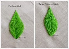 Lots of detailed embroidery stitch tutorials at this site. The first stitch  that comes to my mind with the thought of embroidering a leaf is the  Fishbone ...