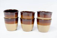 Vintage tumblers mugs set, ceramic mugs, wine mugs, ceramic tumbler, coffee mugs, tea mugs, pottery cups, brown mugs set, set of 6 mugs by VintageEuropeDesign on Etsy