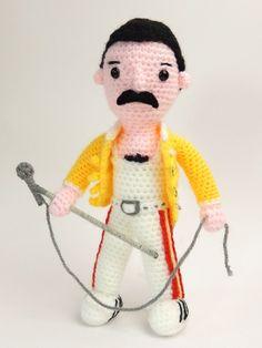 Freddie Mercury Crochet Amigurumi Doll pattern by Janine Holmes of MojiMoji Design