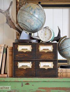 thepaintedhive.net / Ikea Moppe - wood stain / cabinet  drawers / files / ikea hack / easy / vintage look / DIY