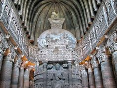 The Ajanta caves known as the chaitya-grihas and the monastery of olden period. The sculpture, architecture & paintings of Ajanta Caves demonstrate the Buddhist culture. Ajanta Ellora, Ajanta Caves, Beautiful Architecture, Art And Architecture, Amitabha Buddha, Visit India, Historical Monuments, India Tour, Religious Art