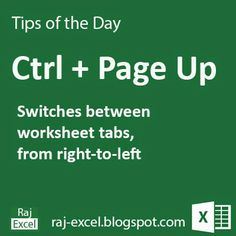 Raj Excel: Tips of the Day: Microsoft Excel Short Cut Key : Using Ctrl + Page Up (key)