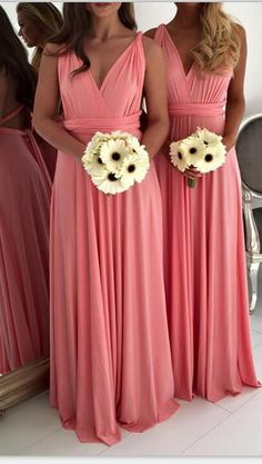 Three Styles Long Green Chiffon Bridesmaid Dresses,A-line Simple High Quality Bridesmiad Gowns,Cheap Bridesmiad Dress For Wedding