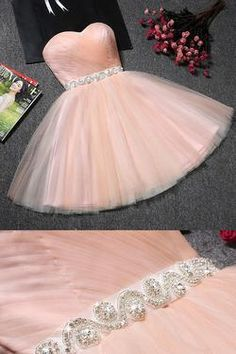 Blush Pink Tulle Strapless Sweetheart Neck Short Prom Dresses, Homecoming Dress,SH50