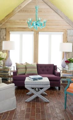 Get inspired by Eclectic Living Room Design photo by Nathan Taylor for Obelisk Home. Wayfair lets you find the designer products in the photo and get ideas from thousands of other Eclectic Living Room Design photos. Living Room Photos, Home Living Room, Living Area, Eclectic Living Room, Living Room Designs, Purple Couch, Couch Design, Home Remodeling, Outdoor Furniture Sets