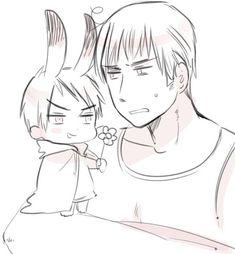 Hetalia - Germany and Bunny Chibi Prussia