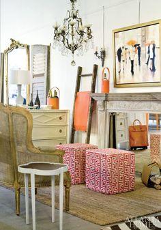 "Huff Harrington Home provides a chic backdrop for showcasing select artwork from Ann Huff and Meg Harrington""s namesake art gallery."