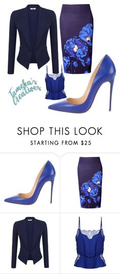 Blue featuring Christian Louboutin, WithChic and Le Fleur Du Mal Work Fashion, Fashion Outfits, Womens Fashion, Fashion Trends, Business Outfits, Business Fashion, Jw Mode, Elegantes Outfit, Professional Outfits