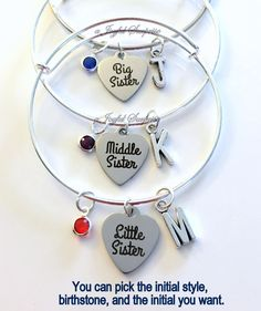 Baby, Middle, Little & Big Sister Set of 2 3 or 4 Jewelry Charm Bracelet Bangle Silver initial Birthstone Birthday Gift Christmas Present by aJoyfulSurprise on Etsy Sister Christmas Presents, Diy Christmas Gifts, Sister Jewelry, Personalized Charms, Birthstone Charms, Organza Gift Bags, Initial Charm, Charm Jewelry, Birthstones