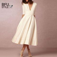 Sexy White Dress Women Half Sleeve V-Neck Evening Party Robe
