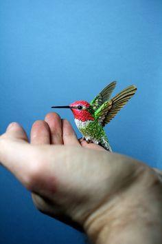 Handmade paper and resin hummingbird sculpture by Zack Mclaughlin.