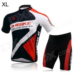 INBIKE Short Sleeves Cycling Jersey   Shorts Set for Men - Red   White   Black (Size XL) Price: $39.90