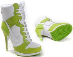Womens White and Lemon Lime Nike Heels Dunk SB High