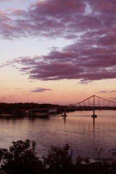 sunset, Moskovskyi Bridge over the Dnieper River, Kiev, Ukraine