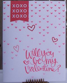 https://flic.kr/p/CVmzE3 | Be My Valentine | Made with the February 2015 and 2016 Simon Says Stamp Card Kits.  Addition to kit: Falling hearts stencil by Simon Says Stamp.