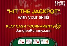 """HIT THE JACKPOT"" with your #rummy skills. Play #cashtournaments @ http://www.jungleerummy.com"
