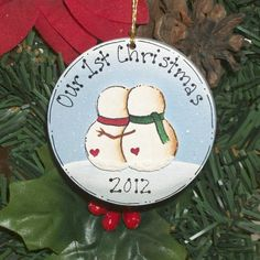 First Christmas Together Snowman Couple Ornament, Personalized Free. $4.95, via Etsy.