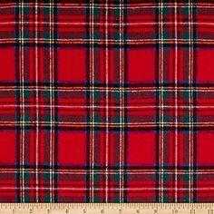 Yarn Dyed Flannel Plaid Red Fabric