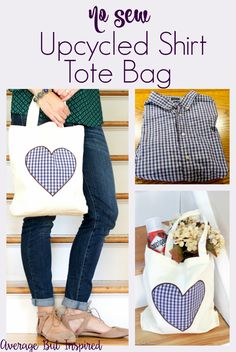 Use an old shirt to create an adorable tote bag! No sewing required with this…