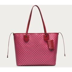 Bally BERNINA MEDIUM Women's medium coated canvas tote bag in Bally... ($650) ❤ liked on Polyvore featuring bags, handbags, tote bags, coated canvas handbag, bally purse, bally handbag, water resistant tote y red tote