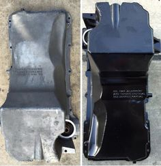 LS oil pan - before and after powder coated.