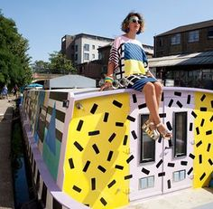 Camille Walala on a London barge she recently restyled.