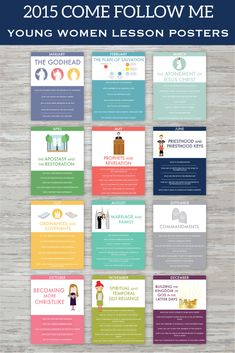Darling printable Come Follow Me young women lesson posters! These would be great for bulletin boards, binders, handouts, New Beginnings, and room decor!