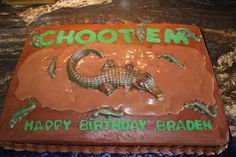 This would be an awesome! But of course my name wouldn't be Braden. Rice Krispie Treats, Rice Krispies, Happy Birthday Signs, Birthday Cake, Alligator Cake, Candy Necklaces, Chocolate Coins, Graham Crackers, Amazing Cakes