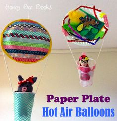 Paper Plate Hot Air Balloons from Honey Bee Books staple/glue 2 plates together