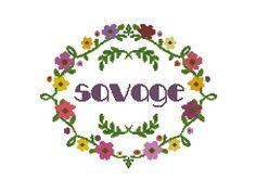 Modern Cross Stitch Quote Savage Subversive by StitchyLittleFox
