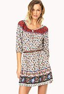 Sweet Floral Peasant Dress w/ Belt