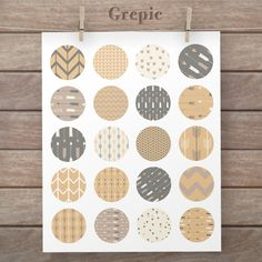 SALE 50% Circle collage: 1.5 inch NEUTRAL ARROWS circles by Grepic