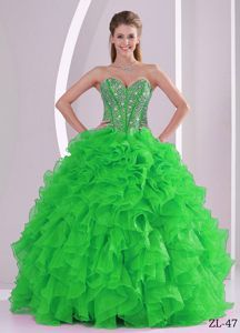Recommended Beaded Ruffles Sweetheart Sweet 16 Quince Dresses under 250