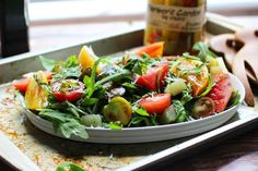 [Weight loss Recipes] Garden Pickles & Heirloom Tomatoes Over Baby Greens + Click For Recipe!  #easyrecipes #weightloss
