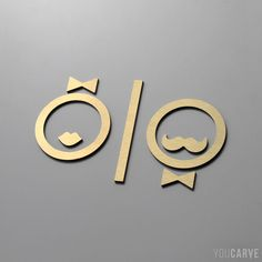 Man and woman signage, in brushed gold-plated alu-dibond. 3 mm, fixing by m . Toilet Signage, Bathroom Signage, Wayfinding Signage, Signage Design, Wc Icon, Toilette Design, Deco Cool, Barber Shop Decor, Building Signs
