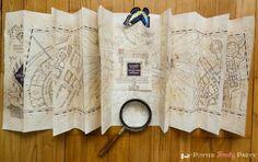 Potter Frenchy Party - Harry Potter marauder's map DIY - Carte du Maraudeur - Poudlard - Hogwarts printable