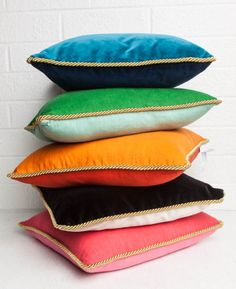 Colorblock Linen Pillow Watermelon & Petal