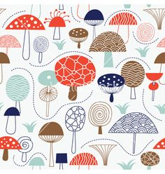 Seamless pattern with mushrooms fabric design vector