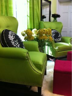 green chairs + pillows + pink
