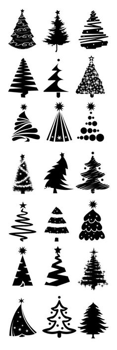 Card making: Christmas tree designs.