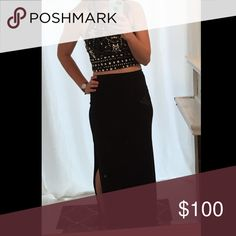Two piece prom dress Black two piece prom dress from Dillard's in perfect condition! The top ties around the neck and the skirt is fitted and has a slit that hits right above the knee. It's a beautiful and flattering dress. If you have any questions feel free to ask! It's a size 7 but fits like a 6 Dresses Prom