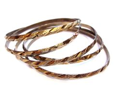 Vintage Bangle Bracelets, Gold Metal Set