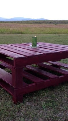 Outdoor Pallet Table  Stained in Sangria